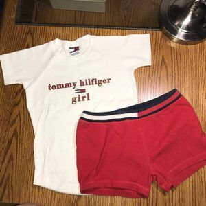 Tommy Hilfiger top & yoga shorts girl's small